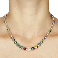 Crystal Necklace Swarovski Crystal Beaded Necklace Glittering Elegant