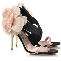 Sexy Satin Strappy Floral Badges Dancing Heels