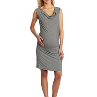 Three Seasons Maternity Women`s Maternity Cowlneck Side Rouche Stripe Dress