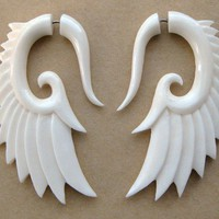Nava WingsOrganic Bone Earrings by TribalStyle on Etsy
