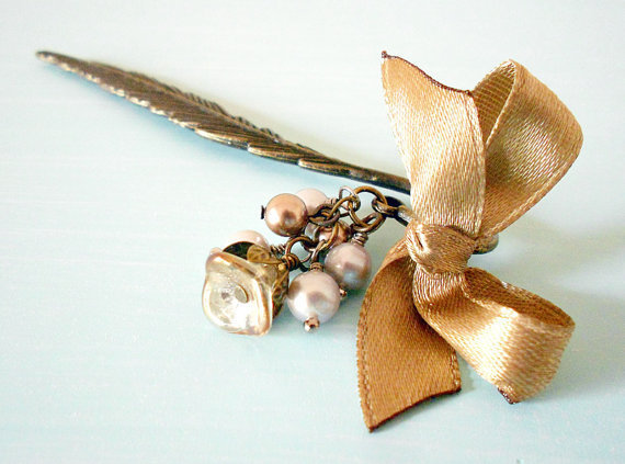 Romantic Shabby Chic Feather Bookmark in Antique Brass with Satin Ribbon Bow, Swarovski &amp; Freshwater Pearls and Czech Glass Flower