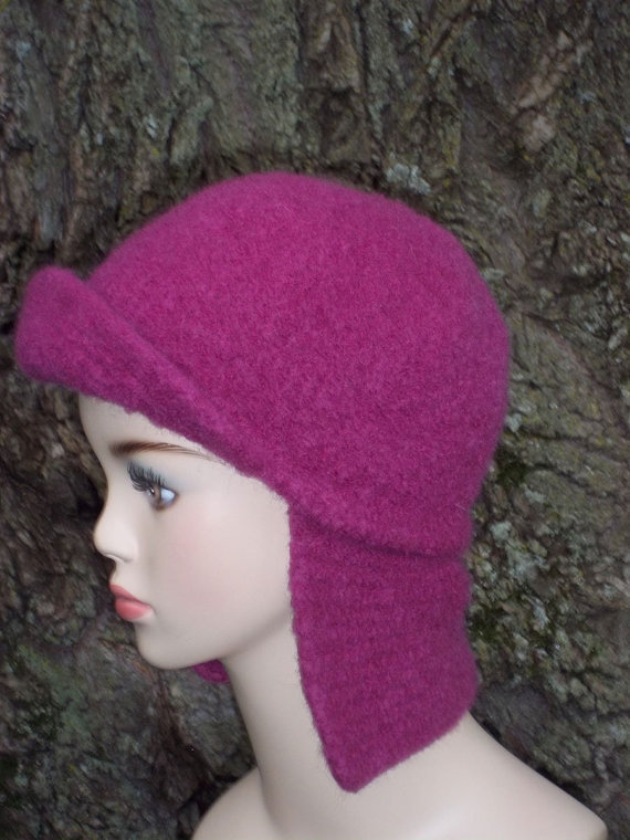 Pattern Knit Earflap Hat Felted from KnittingOleBag on