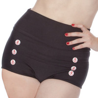 Skipper Super High Waisted Black Sailor Nautical Bikini Bottom (XS-2X)