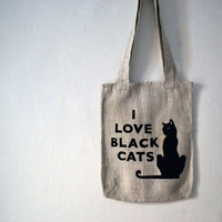 Tote bag with cat print/  black cat/ I love black cats.Cat's lovers collection. nO 2.