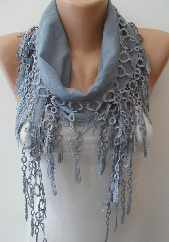 Light Grey  - Lightweight Summer Scarf with Trim Edge-NEW