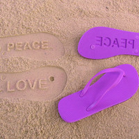 PEACE and LOVE - Sand Imprint Flip Flops