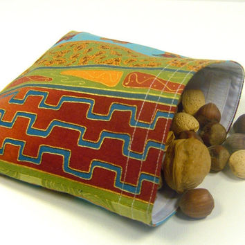 Reusable Sandwich Bag - African rust green teal gold food storage reuse pouch lunch bridesmaid gift party favor classy - Sac réutilisable