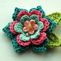Crochet Flower in Raspberry Pink and Teal Blue NEW
