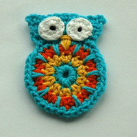 Crochet Owl Applique large size in Turquoise, Yellow and Orange