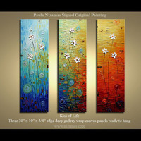 "Original  Modern Daisy Palette Knife Textured Thick Oil Painting  floral fine art by P. Nizamas 30""x30"""