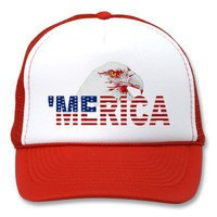 &#x27;MERICA American Bald Eagle US Flag Trucker Hat from Zazzle.com