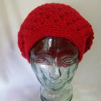 Crochet Shelly Shell Slouchy Beanie Red - Handmade Crochet Hat Slouchy Beanie Crochet Tam Crochet Beret for Winter Fall Women Teen Gift