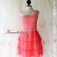 Princess Of The Night Cocktail Dress - Salmon Floral Lace Top Pearl Beads Embroidered One Shoulder Tutu Wedding Night Party Prom Cocktail