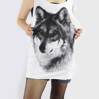 WOLF Jacob Fox Dog Animal Art Design Shirt Long Tank Top Women Tunic Top White T-Shirt Vest Top Sleeveless Singlet Animal T-Shirt Size S M