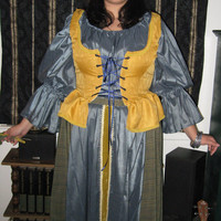 Ren Faire Costume - three pieces-  Blouse, Corset Top and Skirt, Gold/Blue colors Size 14W - 16W