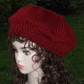 knit Slouch Hat Red