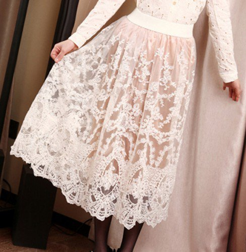 Victorian Lady. Vintage Inspired Beige Cream Lace Skirt. Lacy Skirt