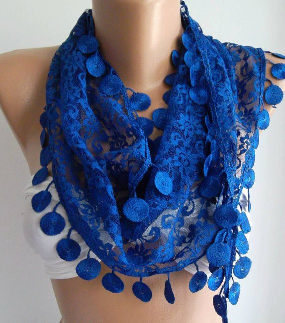 Cobalt Blue / Elegance  Shawl / Scarf with Lacy Edge.