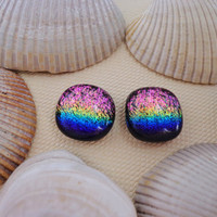Rainbow Stud Post Earrings Dichroic, Fused Dichroic Glass Post Earrings, Dichroic Glass Jewelry -- Rainbow