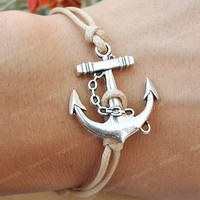 Anchor Bracelet-charm bracelet with khaki string, gift anchor bracelet