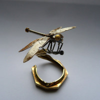 Mechanical Dragonfly Sculpture Made from Recycled Watch Parts Clockwork Dragon Fly Figurine Watch Stems and Faces Insect A Mechanical Mind