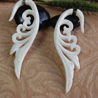 "Fake Gauge Earrings, ""Fairy Wing"" Naturally Organic, Bone, Hand Carved, Tribal"