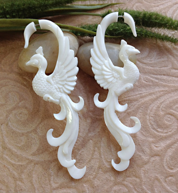 Fake Gauge Earrings, &quot;Long-Feathered Peacock&quot; Naturally Organic, Bone, Hand Carved, Tribal