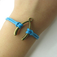 Adjustable Vintage  Bacelet  bronze wish bones   With  Blue Rope Cuff  Bracelet  Vintage bracelet  Jewelry Bangle 961S