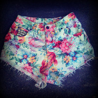 "Vintage High Waisted Floral Studded Cut Off Shorts 31"" Waist"