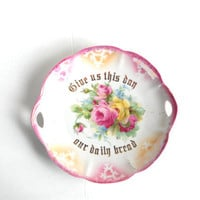 Vintage Dish with Flowers and Writing: German Kahla