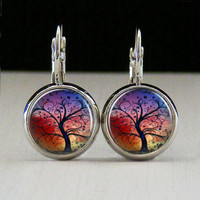 Round Glass Bezel Earrings Tree Earrings Silver (A3157E)