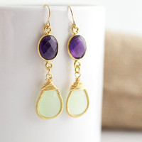 Green Chalcedony Earrings - Green Chalcedony Earring with Bezel Set Amethysts - Bezel Set Earrings