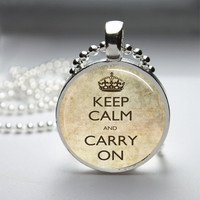 Round Glass Bezel Photo Art Pendant Keep Calm And Carry On Pendant Keep Calm Necklace With Silver Ball Chain (A3773)