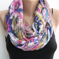 15% SALE Infinity scarf- Floral multicolor loop scarf, lightweight circle scarf