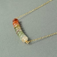 Beautiful Rutilated Quartz Beads Necklace, Wire Wrapped Beads, 14K Gold Filled Chain, Wonderful Jewelry