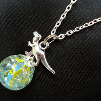 Dinosaur Trex Blue Yellow Fried Marble Glass Chain Necklace