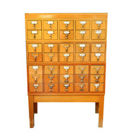 Card catalog cabinet, Library, 35 drawers with stand, brass, wood, vintage storage, home office, card file, organizer