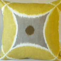 Yellow Ikat Pillow Cover  Yellow, white and pewter 20 x 20