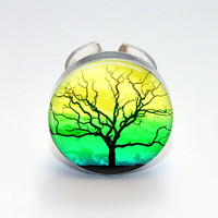 Round Glass Bezel Ring Tree Adjustable Tree Ring (A3562R)