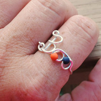 Wire Wrapped Ring Beaded BOO Halloween