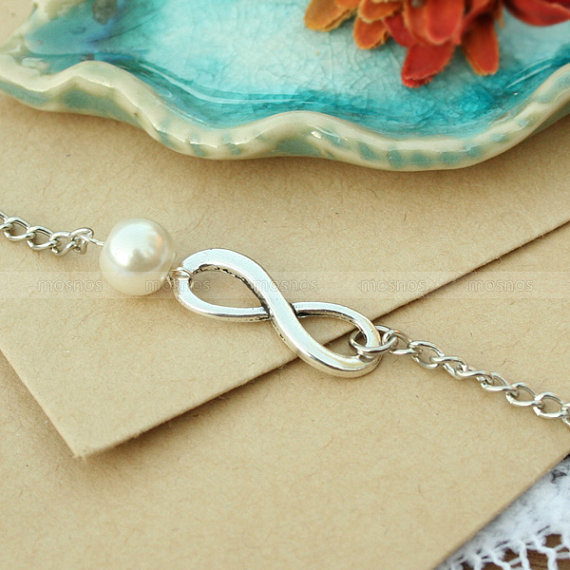 Infinity bracelet-infinity karma pearl bracelet, infinity gift bracelet for BBF, wife and girlfriend