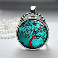 Round Glass Bezel Pendant Tree Pendant Tree Necklace Photo Pendant Art Pendant With Silver Ball Chain (A3173)
