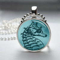 Round Glass Bezel Pendant Seahorse Pendant Seahorse Necklace Photo Pendant Art Pendant With Silver Ball Chain (A3588)