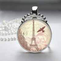 Round Glass Bezel Pendant Eiffel Tower Pendant Paris Necklace Photo Pendant Art Pendant With Silver Ball Chain (A3596)