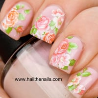 English Rose Nail Art Water Transfer Decal Pink &amp; Peach