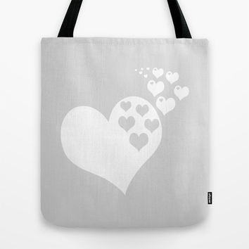 Gray White Hearts of Love Tote Bag by BeautifulHomes