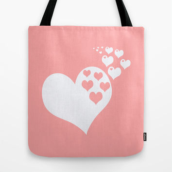Coral White Hearts of Love Tote Bag by BeautifulHomes