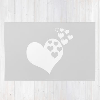Gray White Hearts of Love Area & Throw Rug by BeautifulHomes