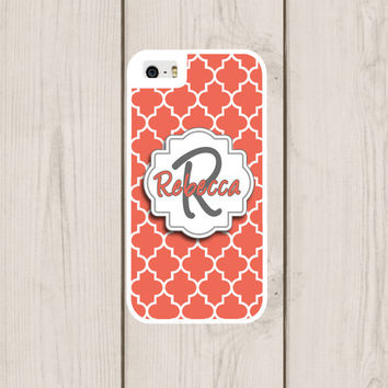 Peach Quatrefoil Personalized Phone Case, Monogram, Custom IPhone 4  4s, IPhone 5 5s 5c, Samsung Galaxy S3 S4 S5