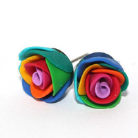 Rainbow Polymer Clay Rose Earrings